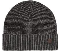 Herren  Mütze Baumwolle schwarz-grau meliert