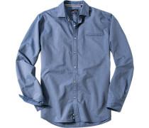 Herren Hemd Slim Fit Popeline jeansblau gestreift