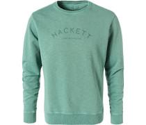Herren Sweatshirt, Baumwolle, seegrün meliert