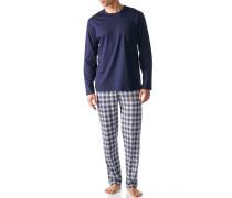 Herren Schlafanzug Pyjama Baumwolle blau-weiß kariert