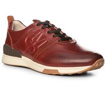 Herren Schuhe Sneaker, Kalbleder gewachst, cognac braun
