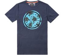 Herren T-Shirt Baumwolle navy gemustert