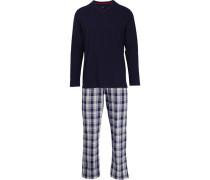 Herren Schlafanzug Pyjama, Baumwolle, navy kariert blau