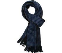 Herren Schal, Wolle, blau-schwarz gemustert