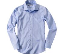 Herren Hemd Shaped Fit Strukturgewebe bleu meliert blau