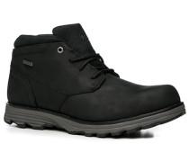 Herren Schuhe Schnürstiefeletten Nubukleder wasserabweisend schwarz schwarz,schwarz