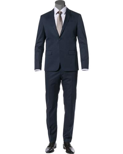 Anzug, Fitted, Baumwolle, navy