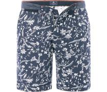 Herren Hose Bermudashorts Regular Fit Baumwolle blau gemustert