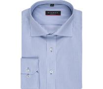 Herren Hemd Modern Fit Baumwolle hellblau gestreift