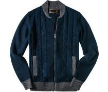 Herren Cardigan Woll-Mix navy-grau blau