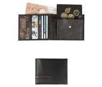 Herren Geldbörse Leder schwarz-braun