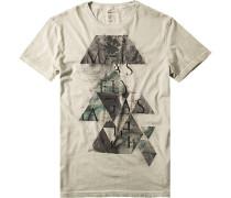 Herren T-Shirt Slim Fit Baumwolle pastellolive meliert