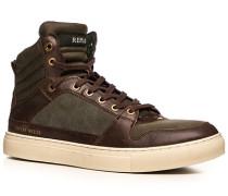 Herren Schuhe Sneaker Kunstleder-Mix dunkelbraun-graubraun