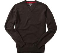 Herren Pullover, Kaschmir-Woll-Mix, braun meliert