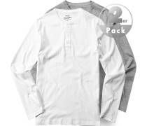 Herren Langarmshirt 2er-Pack Regular Fit Baumwolle grau weiß