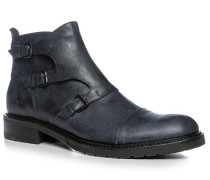 Herren Schuhe Stiefeletten Kalbleder navy blau,beige