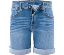 Herren Jeansshorts Baumwoll-Stretch hellblau