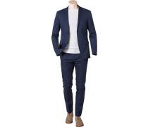 Herren Anzug, Fitted, Baumwolle, dunkelblau