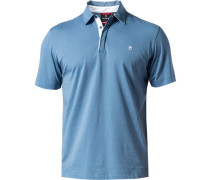 Herren Polo-Shirt Tailored Fit Baumwoll-Jersey taubenblau