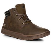 Herren Schuhe Schnürstiefeletten, Nubukleder, dunkelbraun