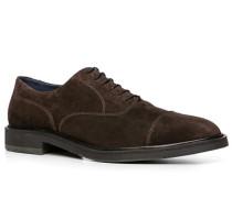 Herren Schuhe Oxford Veloursleder dunkelbraun