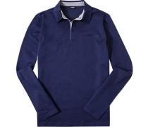 Herren Polo-Shirt Baumwoll-Jersey blau gemustert