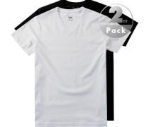 Herren T-Shirts Baumwolle schwarz-weiß