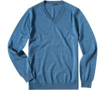 Herren Pullover Schurwolle blau meliert