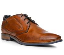 Herren Schuhe Derby Leder cognac braun