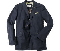 Herren Sakko Comfort Fit Baumwolle halbgefüttert marine blau