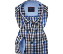 Herren Hemd Comfort Fit Chambray blau kariert