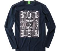 Herren T-Shirt Longsleeve Modern Fit Baumwolle dunkelblau blau,blau