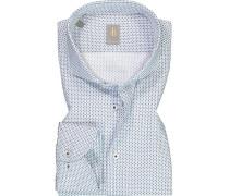 Hemd Custom Fit Baumwolle weiß- gemustert