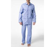 Herren Schlafanzug Pyjama Baumwolle dunkelblau-weiß kariert