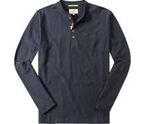 Herren T-Shirt Longsleeve Baumwolle nachtblau