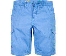 Herren Hose Cargo-Shorts Regular Fit Baumwolle blau