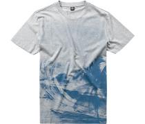 Herren T-Shirt Baumwolle grau-blau gemustert