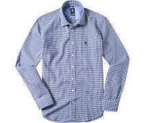 Herren Hemd Regular Fit Baumwolle marine-weiß gemustert blau