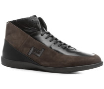Herren Schuhe Sneaker Leder schwarz-braun