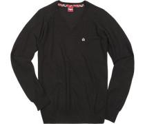 Herren V-Pullover Wolle schwarz