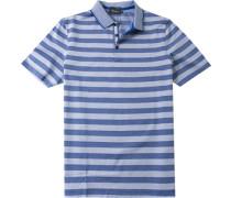 Herren Polo-Shirt Baumwoll-Piqué royal-weiß gestreift