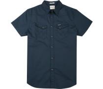 Herren Hemd Regular Fit Popeline navy blau