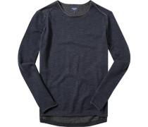 Herren Pullover Baumwolle navy-grau meliert blau