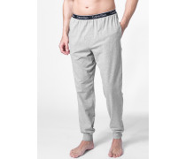 Herren Pyjamahose Baumwoll-Stretch grau meliert