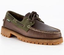 Bootsschuhe Leder-Textil dunkel-oliv