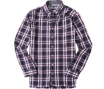 Herren Hemd, New York Fit, Chambray, bordeaux-weiß kariert rot