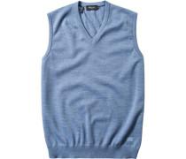 Herren Pullover Pullunder Merinowolle bleu meliert blau