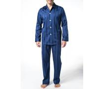 Herren Schlafanzug Pyjama, Baumwolle, marineblau gestreift