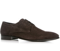 Herren Schuhe Derby Kalbvelours testa di moro braun