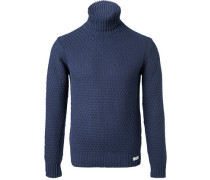 Herren Pullover, Baumwolle, navy blau